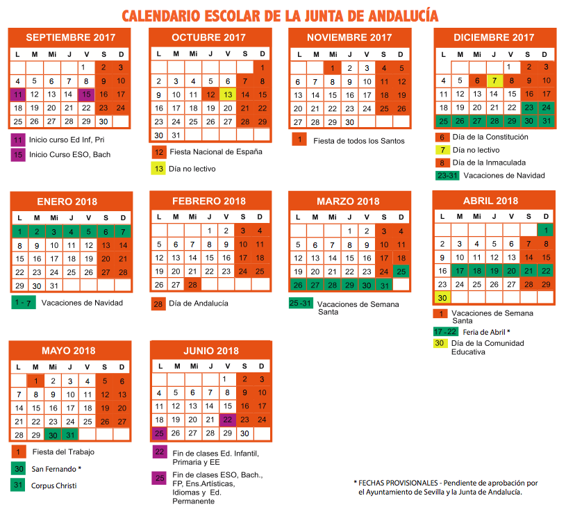 Calendario escolar curso 2017-18 Sevilla